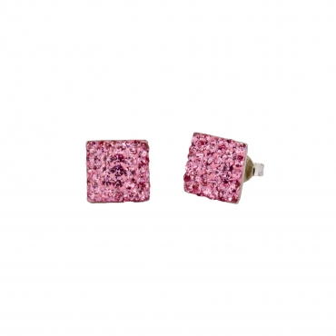 Ohrstecker eckig 8 x 8mm light rose